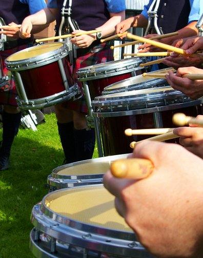 Vale of Atholl Drum Corps practising at the Worlds 2012