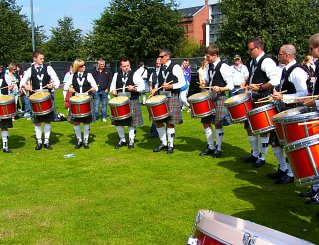Boghall & Bathgate Drum Corps practising at the Worlds 2012