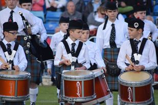 Boghall & Bathgate Juvenile PB from Scotland, of the band performing.
