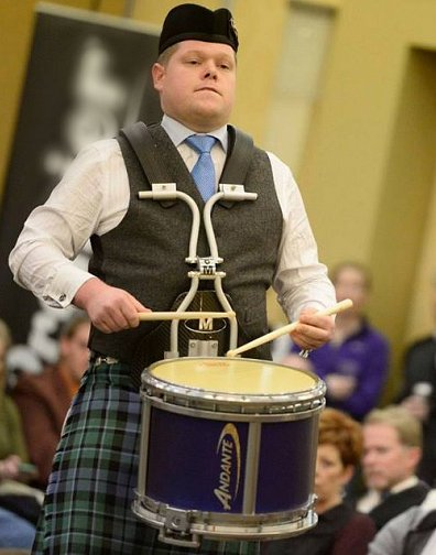 Derek Cooper, at Winter Storm playing his Hornpipe/Jig set, was the winner of the 2016 North American Gold Medal Drumming Championship.