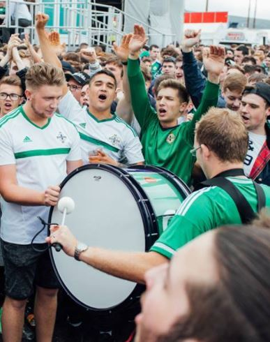 FANZONE at Titanic Belfast of the NI fans having great craic with their Andante Bass Drum.