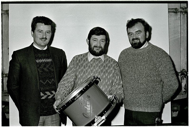 Sam Hodgen pictured with his brother Frank ( Founders of Andante Percussion) and good friend Frank Gibson with the first Andante Snare Drum.