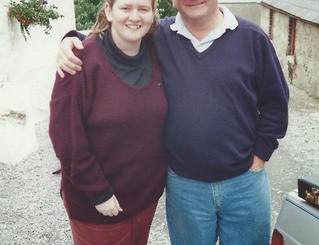 Kylie McFarland with her Dad, John McFarland owners of McFarland Scottish & Celtic Imports from Australia, on their visit to the Andante Premises in Northern Ireland, back in the early 90's.