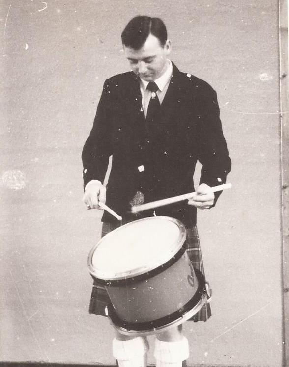 Scottish Power Leading Drummer John Scullion playing the Andante Prototype Snare Drum at the World Solo's 1986.