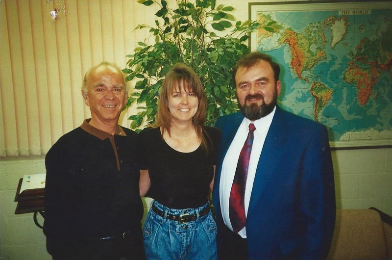 Remo Belli on left, Founder of Remo Inc, Carol Carpentar middle with Sam Hodgen on right during Sam's visit to USA in 1995.