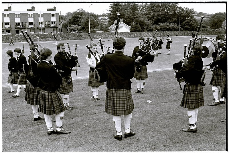 Moneygore Pipe Band in the early 80's, Pipe Major Sam Hodgen third in from left with son Nigel Hodgen playing beside him. Sam's brother Frank, nephews Edmond & Adrian all played in Moneygore Pipe Band and both Nigel & Adrian Hodgen are still in the business today.