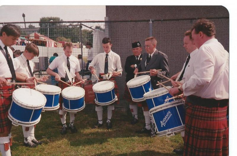 Field Marshal Montgomery Drum Corps with Leading Drummer Gordon Parkes first on left, performing with the latest DTS4 Andante Snare Drum, during the early 90's.