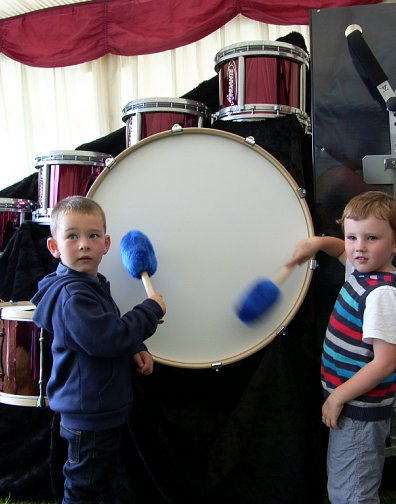 Kerr & Ethan playing the Bass Drum on the Andante stand