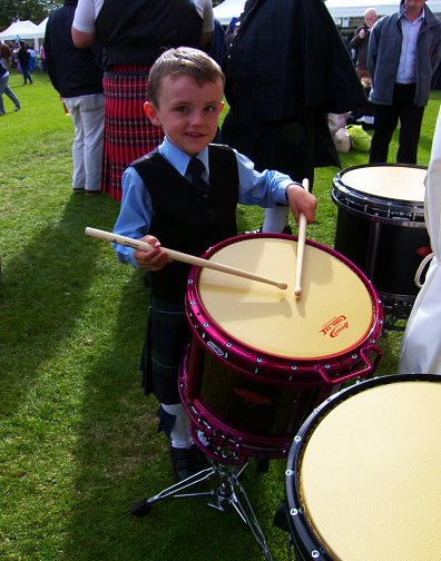 Jamie getting a little practice in before Boghall & Bathgate's fanfare