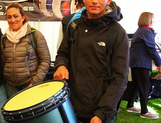 Ramon Psiala collecting his custom drum